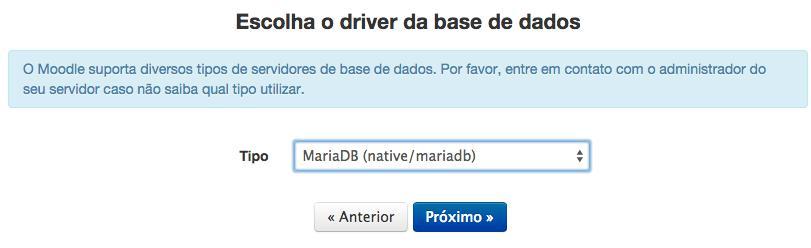 Escolha do driver da base de dados