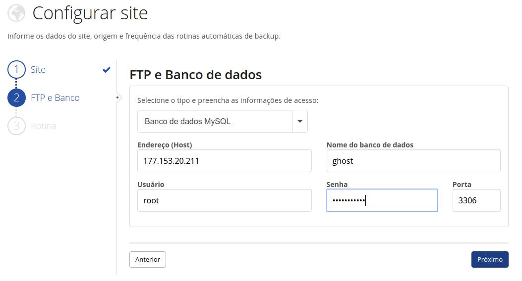 Configurações dos dados do Host de BD