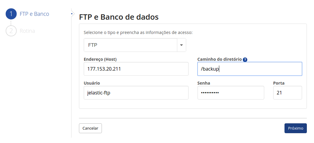Dados de conexão com FTP