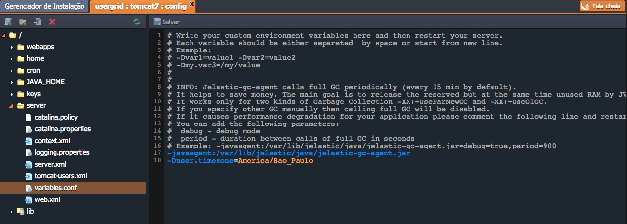 variável alterando o timezone do Java